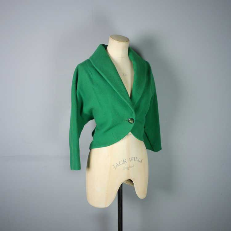 50s GREEN WOOL CROPPED BOLERO JACKET - M-L - image 6