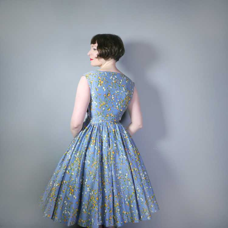 50s BLUE FULL SKIRTED DRESS BY RODNEY IN RED AND … - image 5