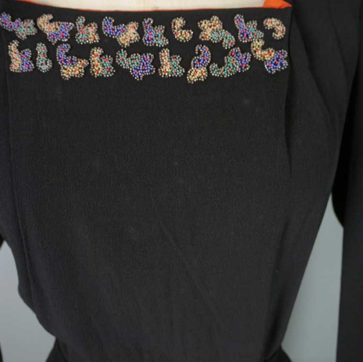 30s 40s BLACK CREPE EVENING DRESS WITH BEADED PEP… - image 14