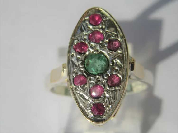 Emerald and Ruby Sterling Silver Ring - image 3