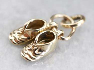 Vintage Gold Baby Shoes Charm