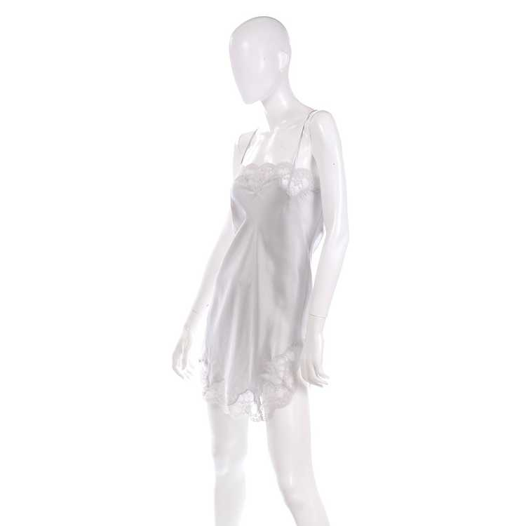 1970s Nordstrom Silver Grey Silk Chemise w/ Lace … - image 5