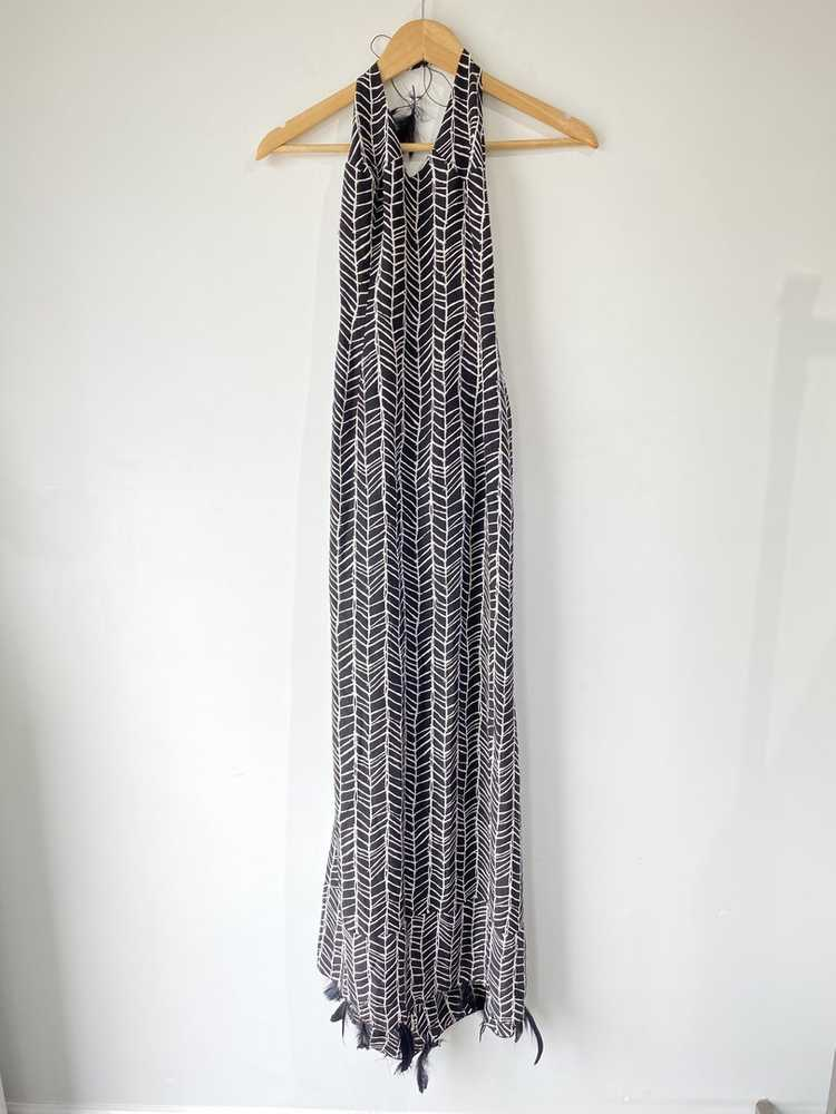Vintage Black Silk Feather Gown - image 1