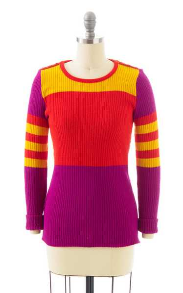 NEW ARRIVAL || 1970s Color Block Knit Sweater | x… - image 1