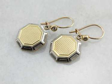 Art Deco Era Cufflink Conversion Earrings, Art Dec