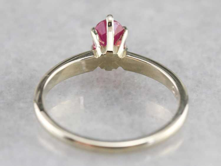 White Gold Ruby Solitaire Ring - image 6