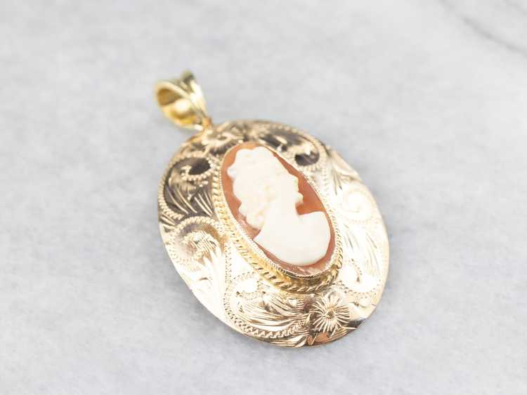 Gold Mid Century Cameo Pendant - image 3