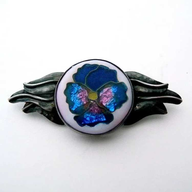 Handcrafted Sterling Cloisonne Enamel Pansy Pin - image 5