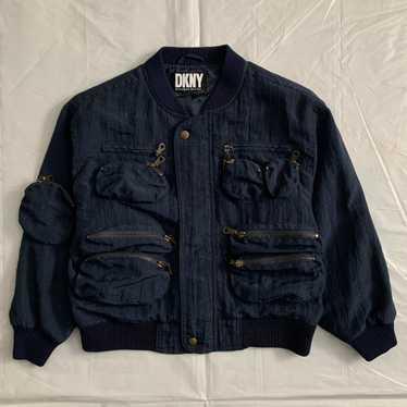 1990s Vintage DKNY Textured Nylon Cargo Bomber Jac