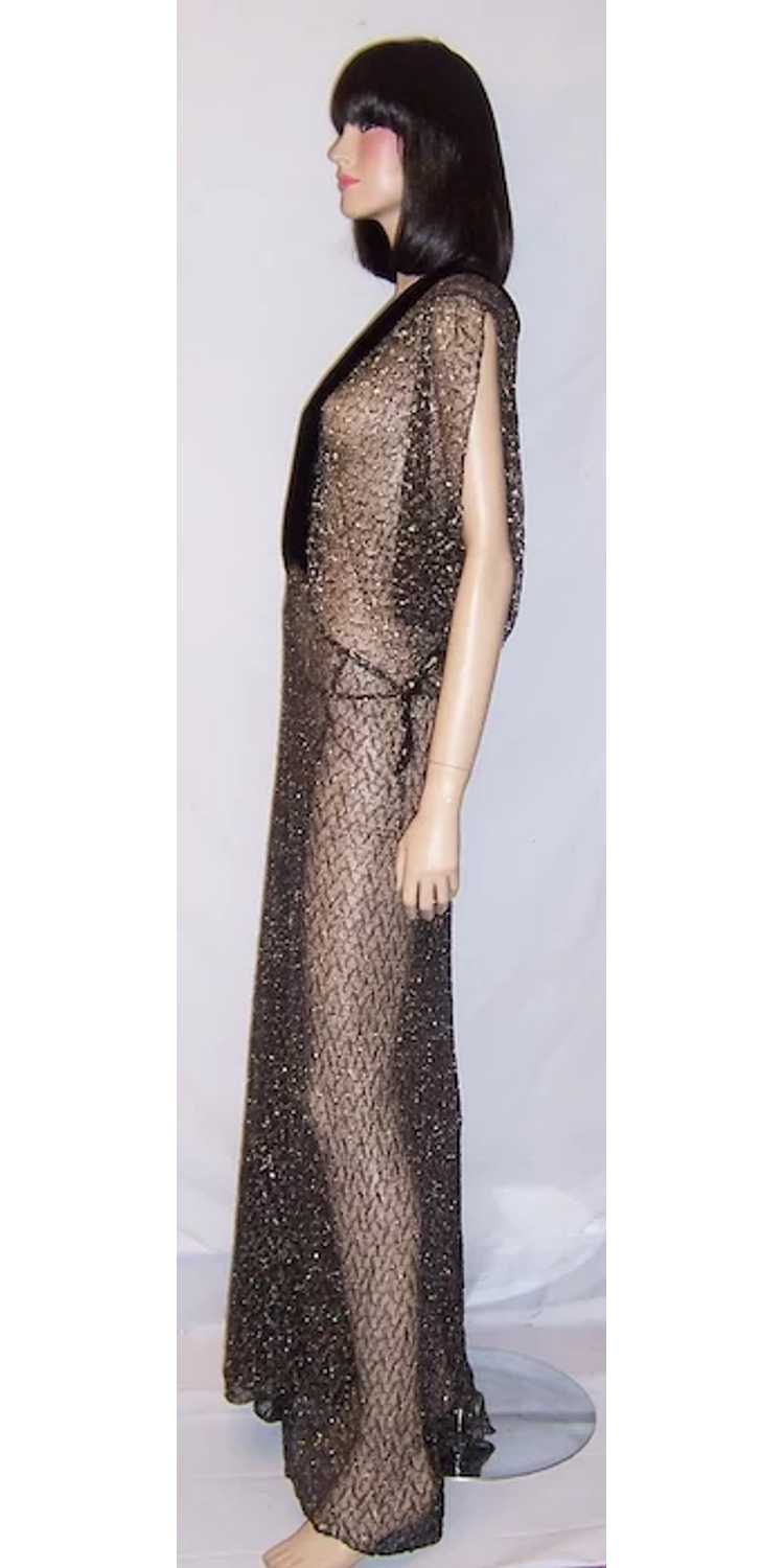 1930's Black & Silver Metallic Lace Gown with Vel… - image 4