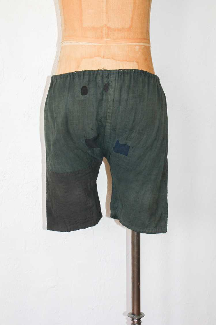 1930s 40s Japanese Linen Patched Workwear Shorts - image 3