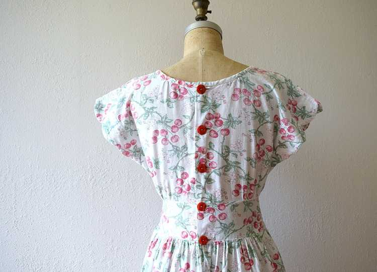1940s cherry print dress . vintage 40s novelty pr… - image 5