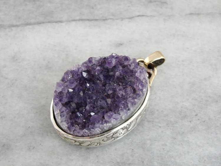 Amethyst Druzy Pendant, Rough Amethyst Crystal - image 2