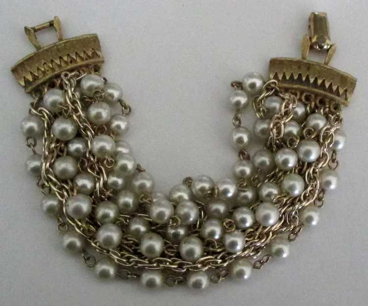 Vintage Signed Coro 10 Stand Faux Pearl and Chain… - image 2