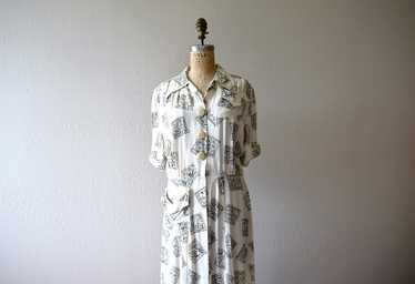 1940s rayon print dress . vintage 40s dress