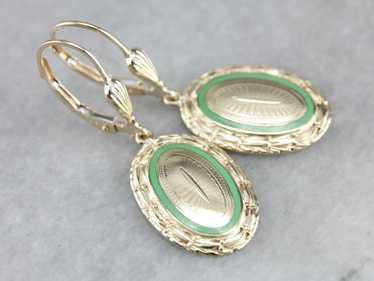 Antique Gold Enamel Earrings