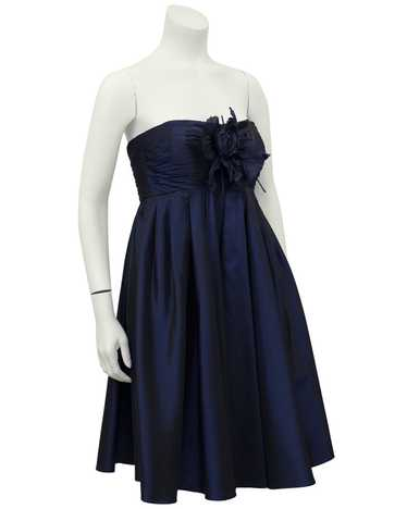 Bill Blass Navy Blue Taffeta Cocktail Dress