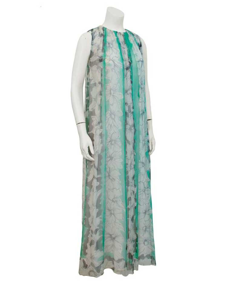 Pauline Trigere Green and Grey Chiffon gown - image 1
