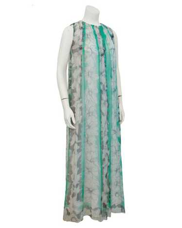 Pauline Trigere Green and Grey Chiffon gown