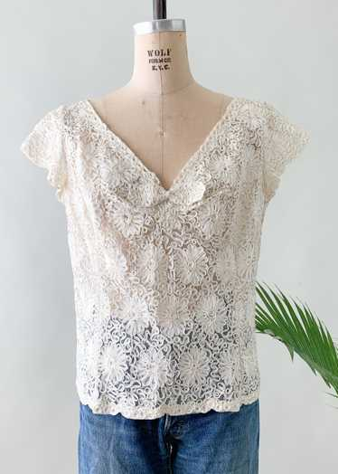 Vintage 1950s Soutache Lace Top