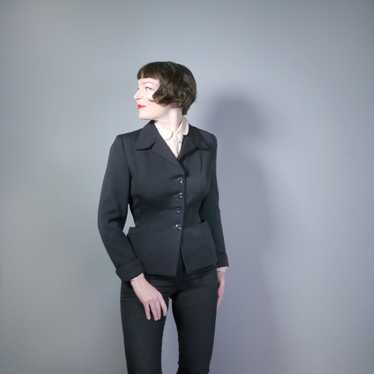 50s BLACK FITTED SUPERFINE WORSTED JACKET WITH EMB