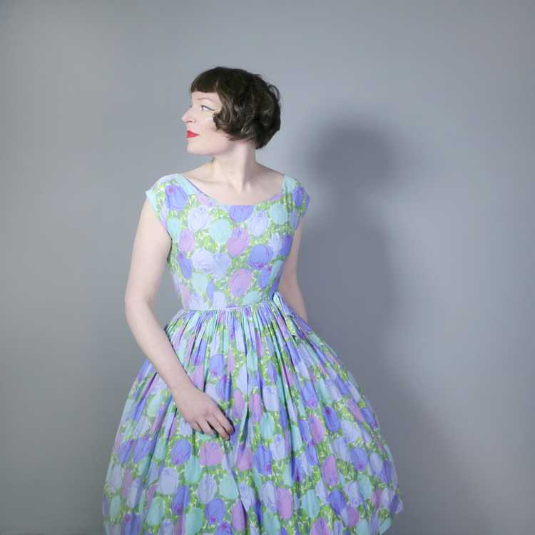 50s FLORAL ROSE DRESS IN BLUE, GREEN AND LILAC CO… - image 3
