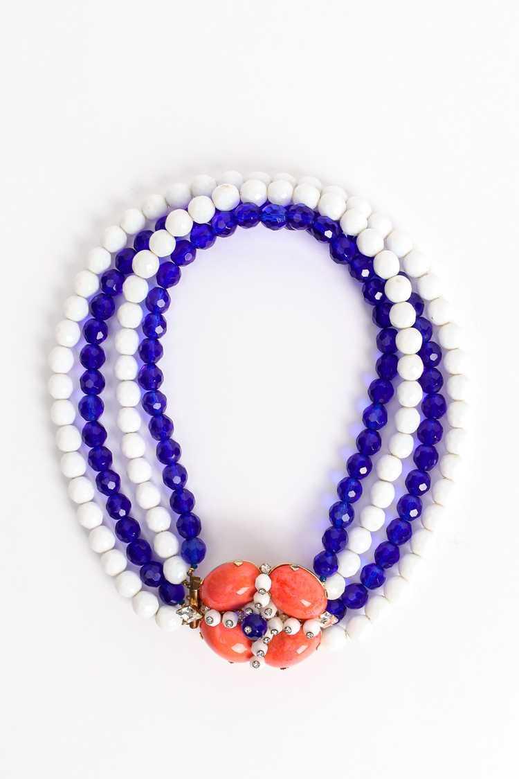 ARNOLD SCAASI Multi-Strand Cabochon Bead Collar - image 1