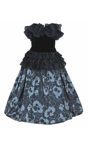 1980's Gucci Couture Black Velvet & Floral Print S