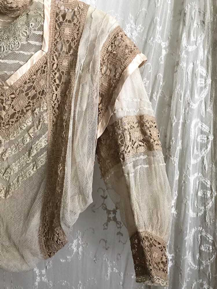 Antique 1890's Victorian Net Lace and Silk Bodice… - image 4