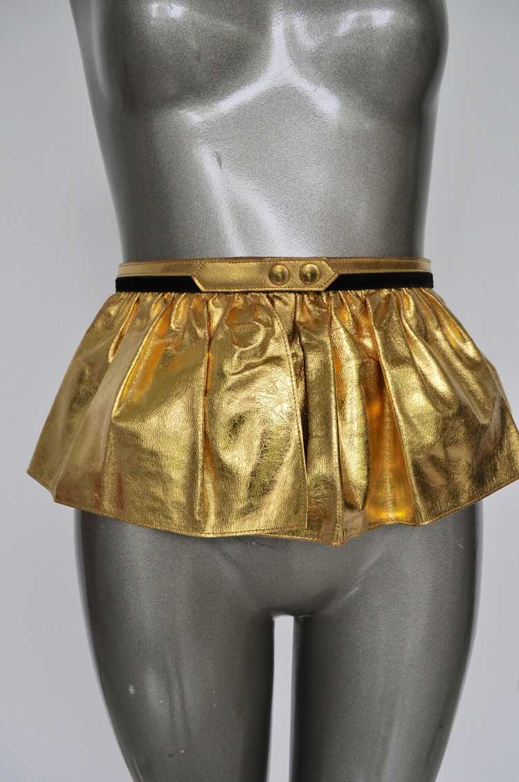 Fabulous 50s Gold Metallic Peplum Leather Belt. - image 1