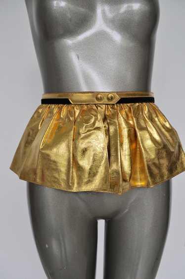 Fabulous 50s Gold Metallic Peplum Leather Belt.