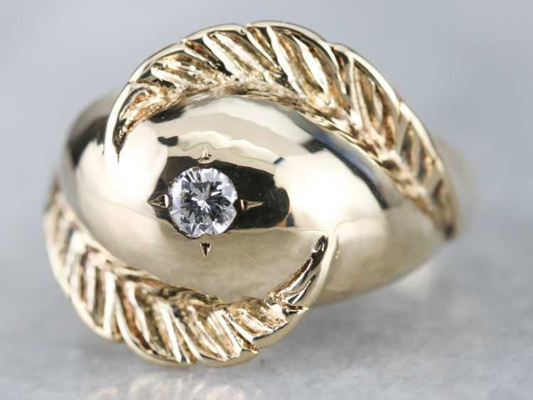 Diamond Solitaire Gold Feather Ring - image 3