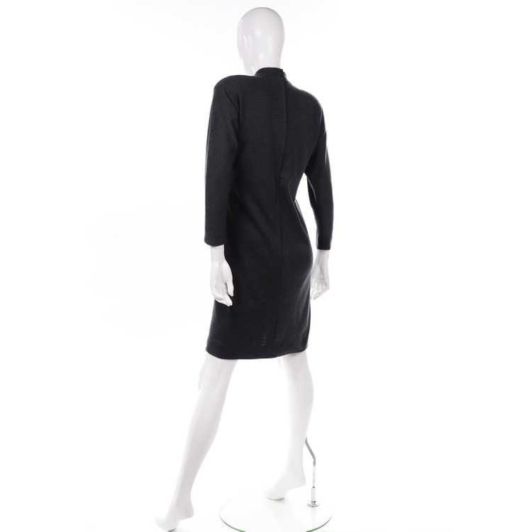 1970s Vintage William Travilla Charcoal Gray Dres… - image 4
