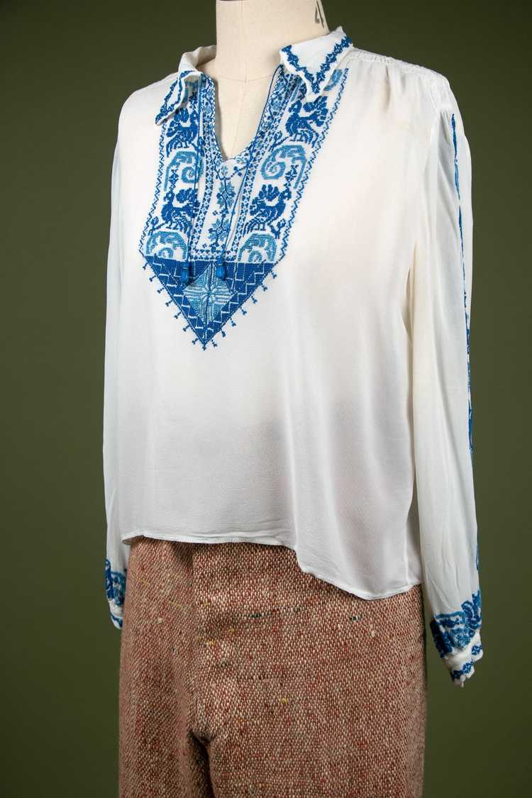 Vintage 1930's Embroidered Peasant Blouse - image 6