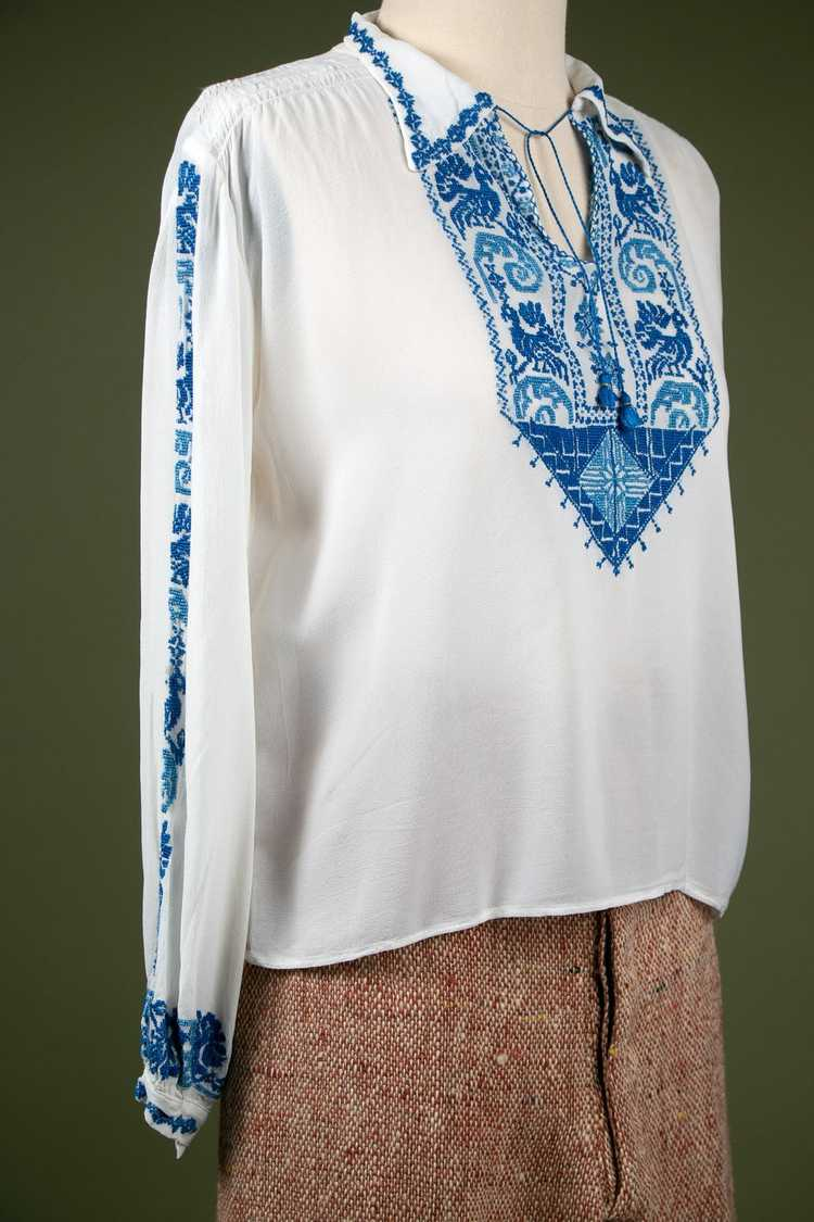 Vintage 1930's Embroidered Peasant Blouse - image 7