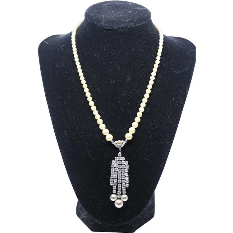 Marvella Faux Pearl and Rhinestone Necklace - image 1