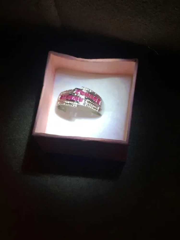 Stunning Sterling Silver and Ruby Ring - image 4