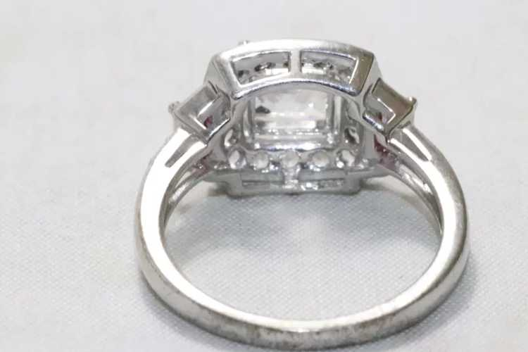 Sterling Silver Cubic Zirconia Ruby Ring - image 3