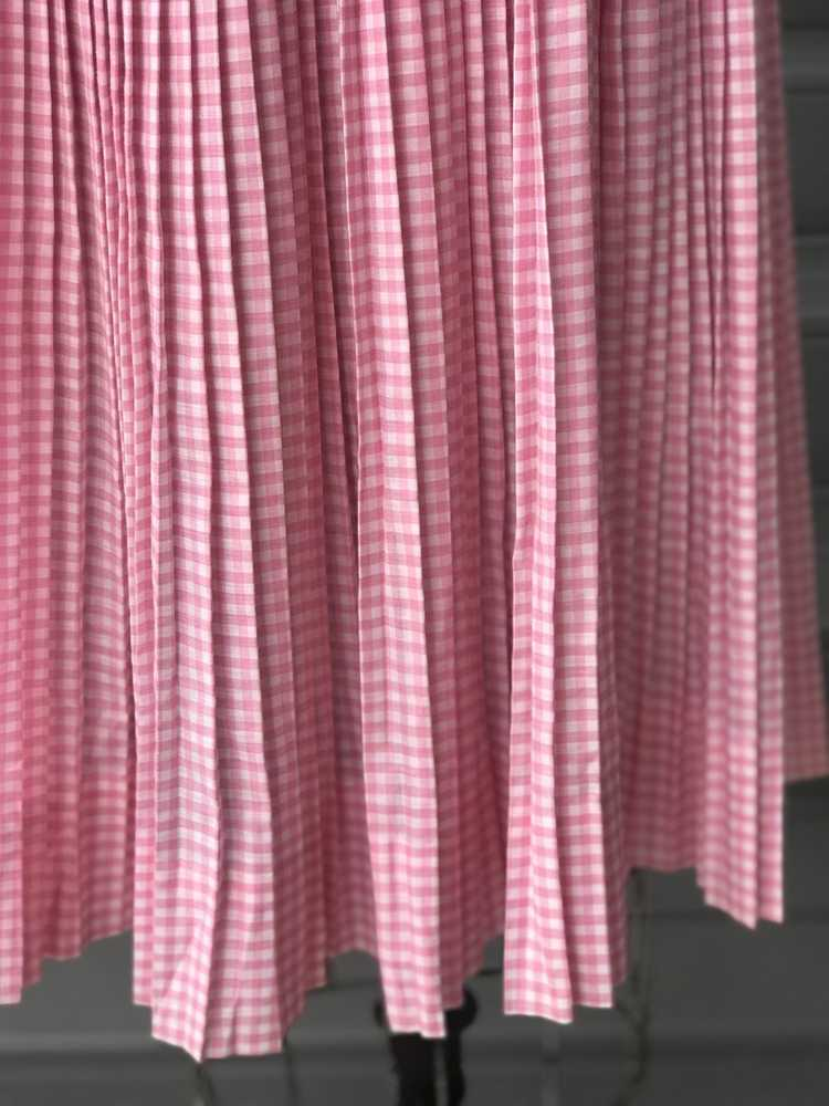 1960s Pink Pleated Collar Gingham Day Dress - image 6
