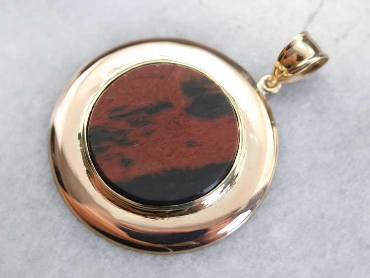 Gold Mid Century Jasper Pendant - image 2