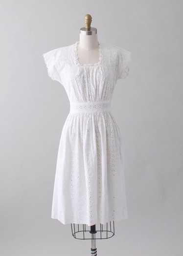 Vintage 1940s White Eyelet Day Dress