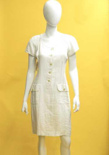 80s Butter Linen Shift Dress M