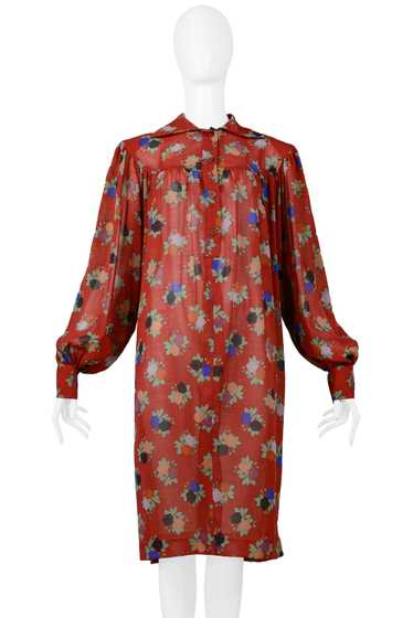 YSL RED FLORAL SMOCK DRESS