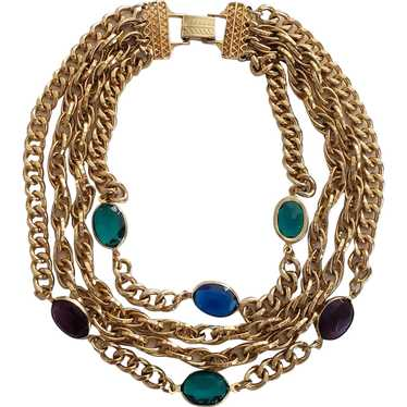 Lux Multi-chain Necklace with Colored Jewels