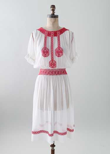 Vintage 1930s Embroidered Cotton Dress