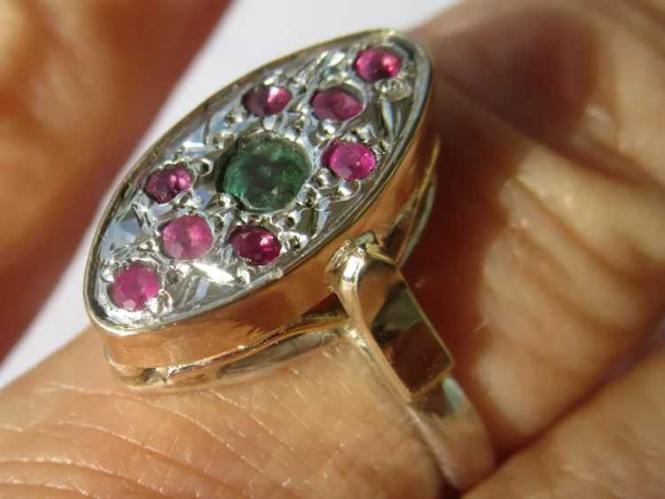 Emerald and Ruby Sterling Silver Ring - image 6