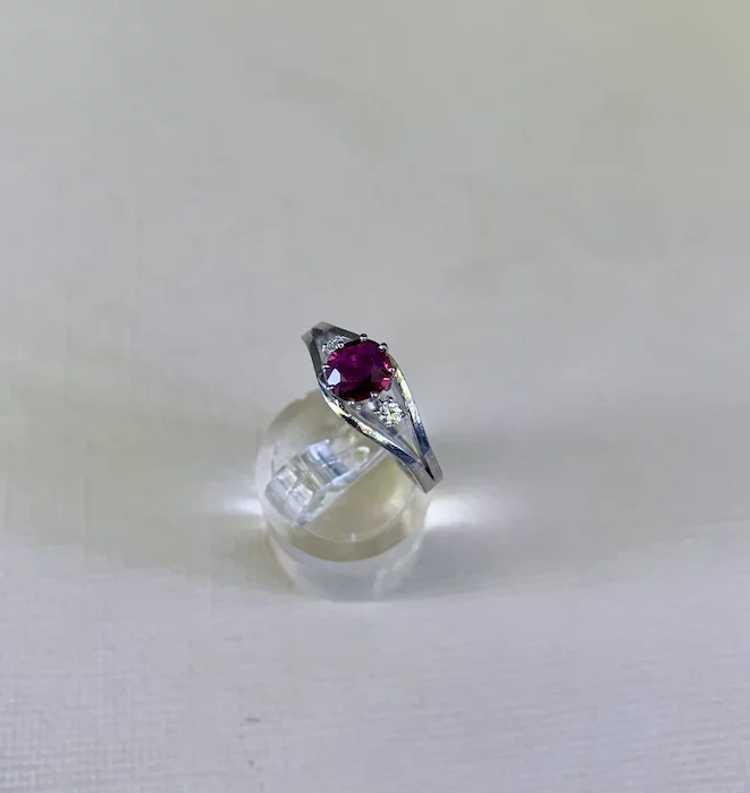 18k Gold Ruby Diamond Solitaire Ring - image 5