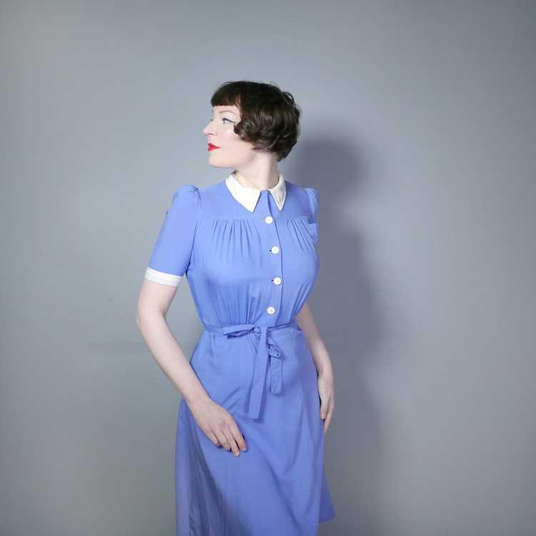 40s NURSE / ALICE style BLUE WHITE COLLARED SHIRT… - image 2