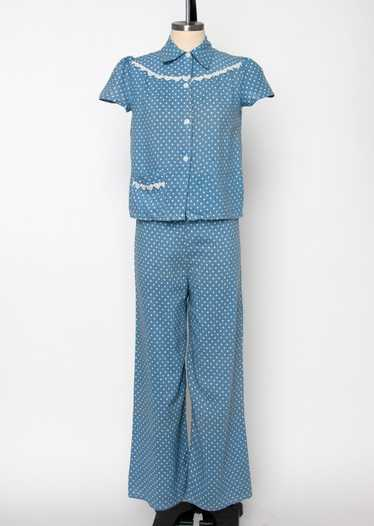 Vintage 1930's Polka Dot Two Piece Pajama Set