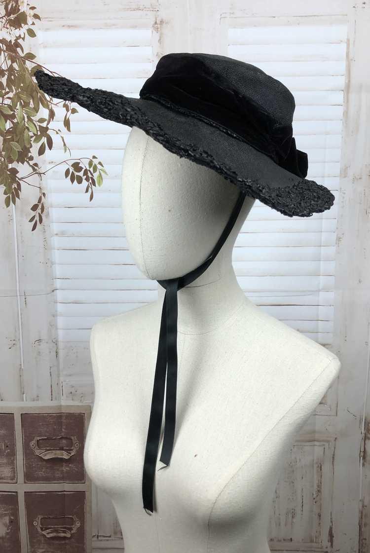 Original 1930s 30s Black Straw And Velvet Wide Br… - image 3